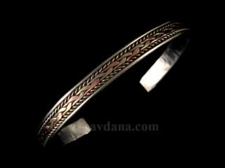 BrD234 Bracelet Tibétain Cuivre Laiton Métal Argenté