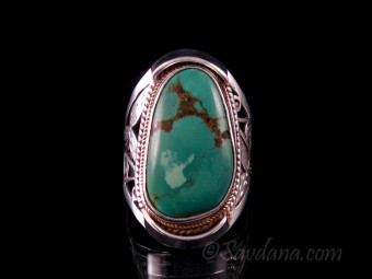 BA334 Bague Argent Massif Turquoise. Taille 63
