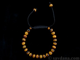 BrMala281 Bracelet Mala de Prières Tibétain Oeil de Tigre