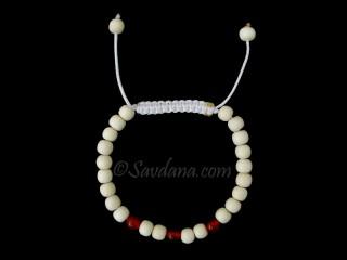 BrMala370 Bracelet Mala de Prières Tibétain Bois Cornaline