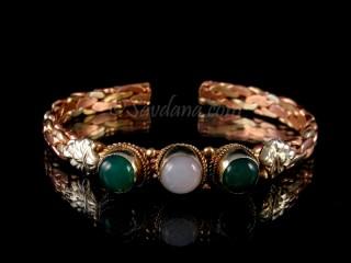 BrD262 Bracelet 3 Métaux Pierres