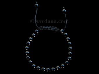 BrMala335 Bracelet Mala de Prières Tibétain Onyx. 21 cm