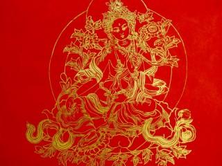 AF55 Affiche Tibétaine Papier Népalais Tara