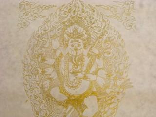 AF56 Affiche Tibétaine Papier Népalais Ganesh