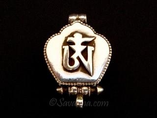 PA496 Pendentif Amulette Ghau Argent Massif Om Dorje