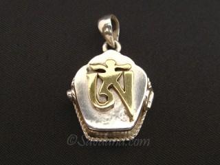PA497 Pendentif Amulette Ghau Argent Massif Om Dorje