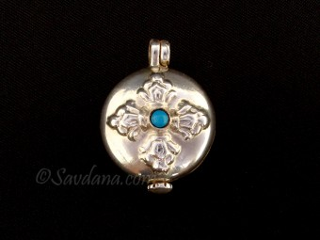 PA504 Pendentif Amulette Ghau Argent Massif Dorje Vajra