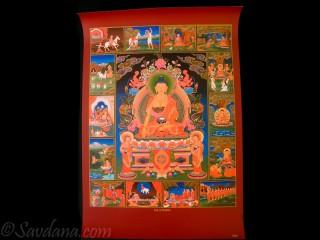 AF62 Affiche Tibétaine Vie de Bouddha