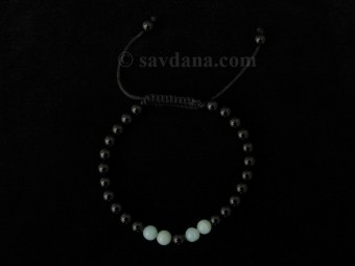 BrMala355 Bracelet Mala Onyx Amazonite 21 cm