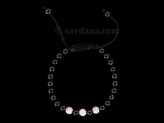 BrMala353 Bracelet Mala Onyx Quartz Rose 20 cm