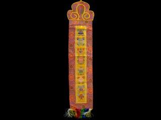 BB98 Bannière Tibétaine Signes Auspicieux du Bouddhisme
