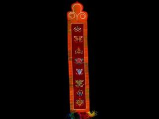 BB95 Bannière Tibétaine Signes Auspicieux du Bouddhisme
