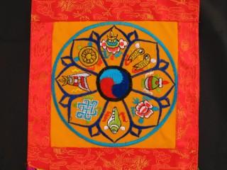 BB93 Bannière Tibétaine Signes Auspicieux du Bouddhisme