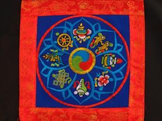 BB88 Bannière Tibétaine Signes Auspicieux du Bouddhisme
