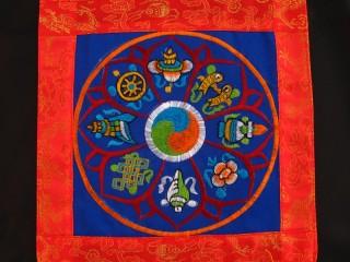 BB90 Bannière Tibétaine Signes Auspicieux du Bouddhisme