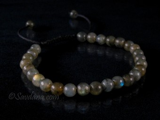 BrMala380 Bracelet Mala de Prières Tibétain Labradorite. 21 cm