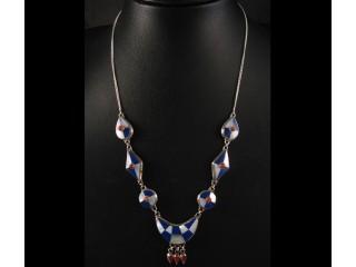 CA04 Collier Argent Massif Lapis Lazuli Corail Nacre
