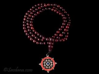 Mala110 Mala de Prières Tibétain Bois de Rose Mandala