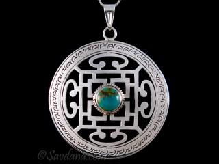 PA558 Pendentif Argent Massif Mandala Turquoise