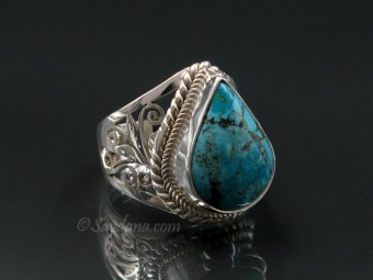 BA340 Bague Argent Massif Turquoise. Taille 57