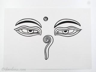 AF77 Affiche du Népal Yeux de Bouddha