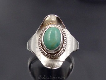 BA52 Bague Argent Massif Turquoise. Taille 57
