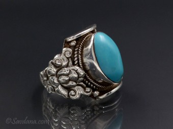 BA268 Bague Argent Massif Turquoise. Taille 65