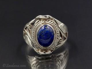 BA270 Bague Argent Massif Lapis Lazuli. Taille 59
