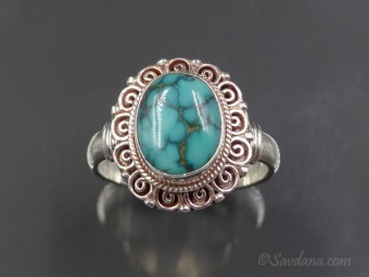 BA292 Bague Argent Massif Turquoise. Taille 59