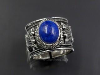 BA320 Bague Tibétaine Argent Massif Pierre Lapis Lazuli