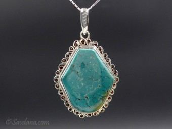 PA16 Pendentif Argent Massif Turquoise