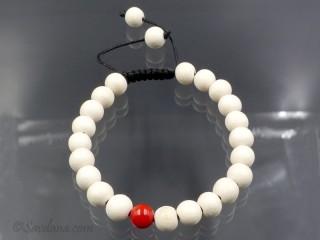 BrMala378 Bracelet Mala de Prières Tibétain Bois Corail Bambou