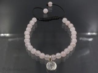 BrMala338 Bracelet Mala de Prières Tibétain Quartz Rose Yin Yang Argent Massif