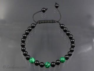 BrMala309 Bracelet Mala de Prières Tibétain Onyx Malachite. 20 cm
