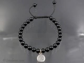 BrMala333 Bracelet Mala de Prières Tibétain Onyx Noeud Sans Fin Argent Massif. 20 cm