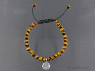 BrMala342 Bracelet Mala de Prières Tibétain Oeil de Tigre Yin Yang Argent Massif. 20 cm