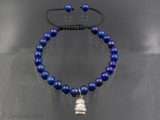 BrMala349 Bracelet Mala Lapis Lazuli Bouddha Argent Massif 19 cm