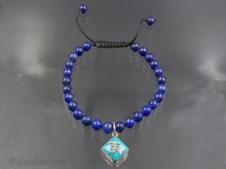BrMala381 Bracelet Mala Lapis Lazuli Om Argent Massif. 21 cm