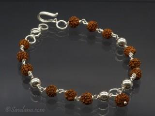 BrA45. Bracelet Tibétain Argent Massif Perle de Rudraksha