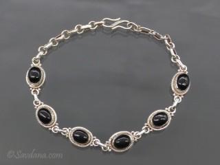 BrA62 Bracelet Argent Massif Onyx