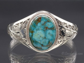 BrA69 Bracelet Tibétain Argent Massif Turquoise