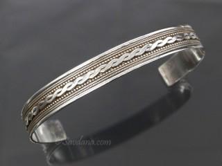 BrA85 Bracelet Tibétain Argent Massif