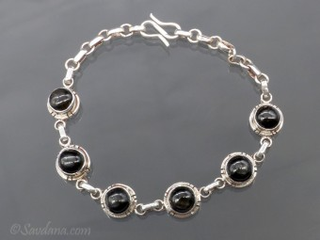BrA99 Bracelet Argent Massif Onyx