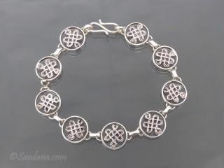 BrA104 Bracelet Tibétain Argent Massif Noeud Sans Fin