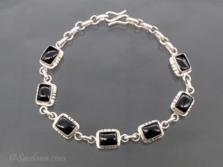 BrA108 Bracelet Argent Massif Onyx