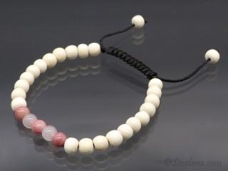 BrMala395 Bracelet Mala de Prières Tibétain Bois Jaspe Quartz Rose