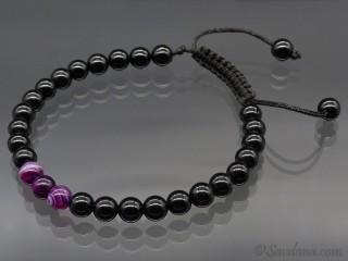 BrMala397 Bracelet Mala Onyx Agate. 21 cm