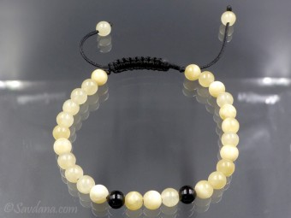 BrMala398 Bracelet Mala de Prières Tibétain Onyx Jade Jaune. 20 cm